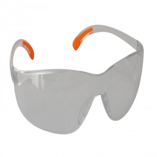 Safety glasses, clear lenses.