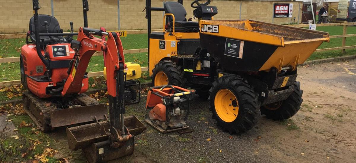 Mini digger, dumper and wacker plate hire for Thame Football Club