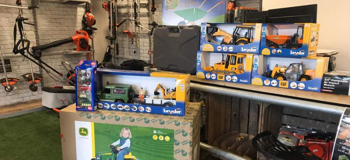 Toy tractors, diggers and dumpers in stock for Christmas