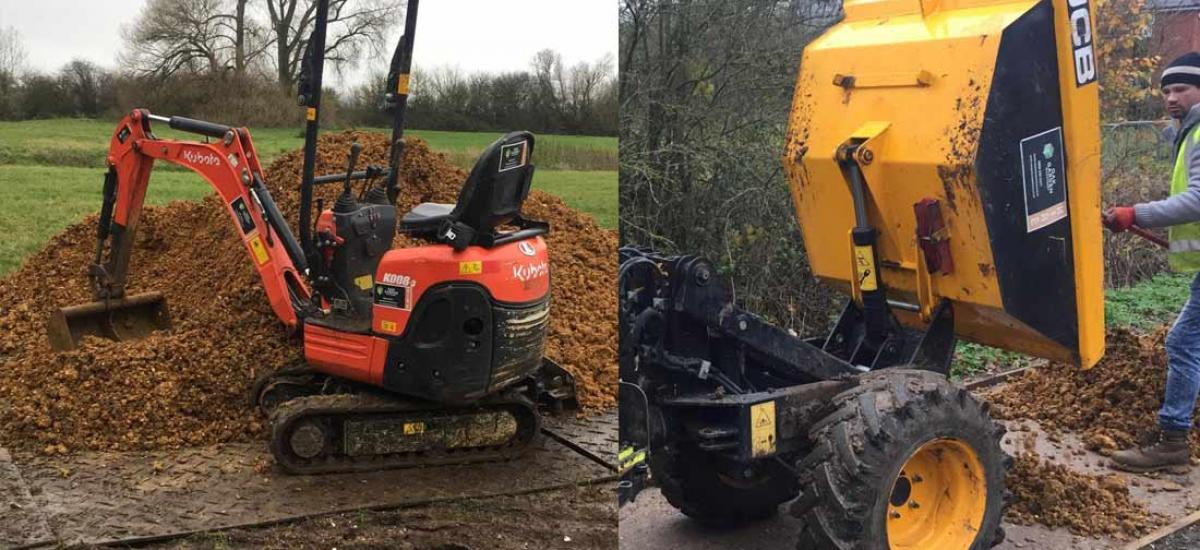 Mini-digger and mini-dumper hire for construction project in Aylesbury, Buckinghamshire