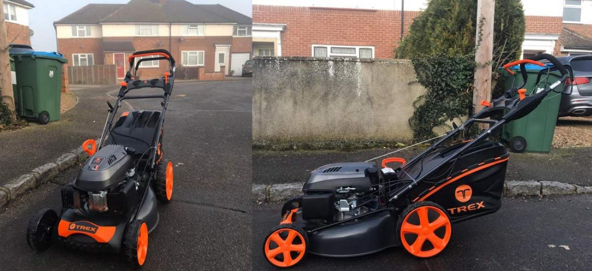 New Trex lawnmower delivered to customer in Aylesbury, Buckinghamshire