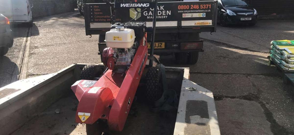 Stump grinder hire for customer in Long Crendon, Oxfordshire
