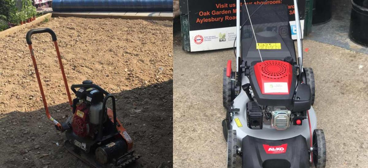 Wacker plate hire and lawn mowers sales at Oak Garden Machinery