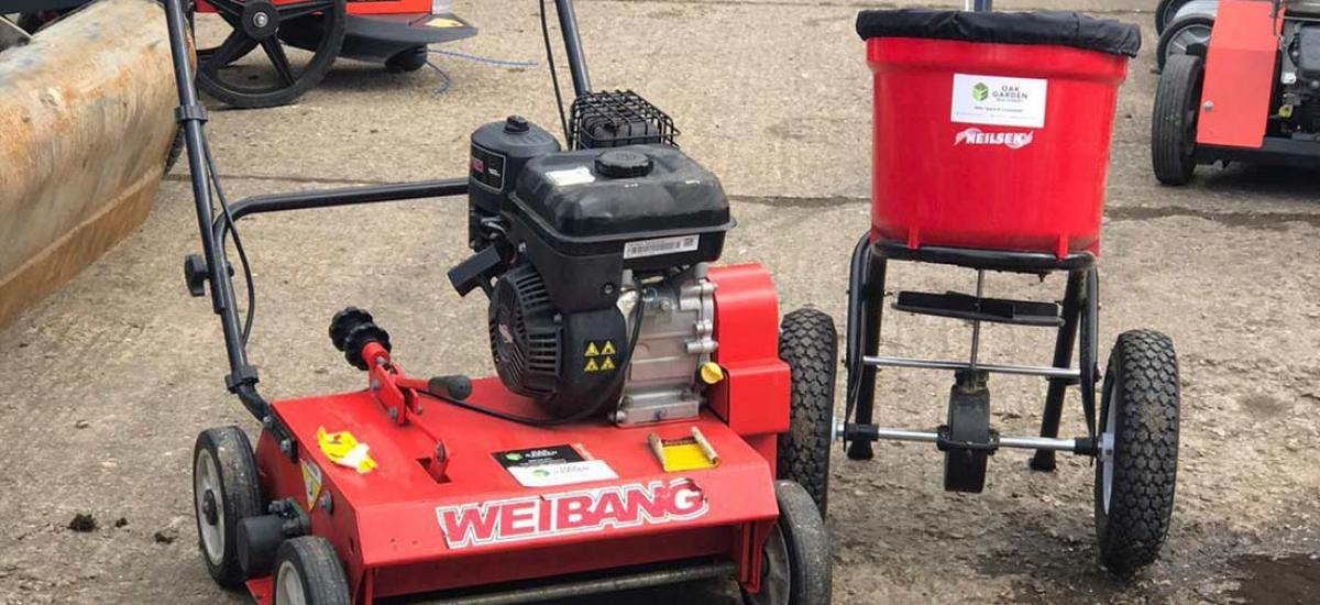 Scarifier and spreader hired for spring lawn preparation in Aylesbury, Bucks