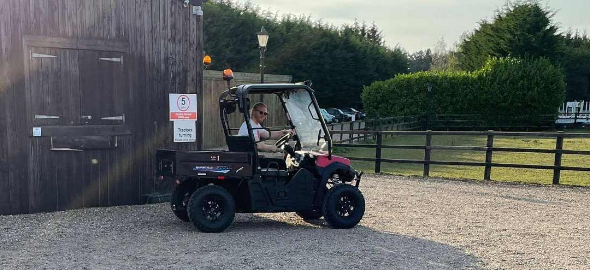 Electric UTV hired out to help on a film set in Buckinghamshire