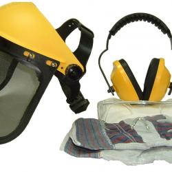 Protection kit OZAKI, composed of an adjustable visor, goggles, ear protection and work gloves.