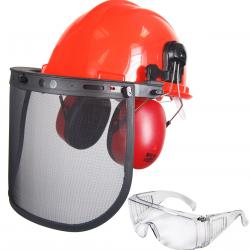 Forestry helmet set OZAKI, composed of one helmet, ear protection, mesh visor and safety glasses (910-2129).