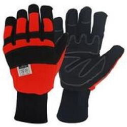 Pair chain saw safety gloves, Size 11/XL, with Kevlar protection on left hand.