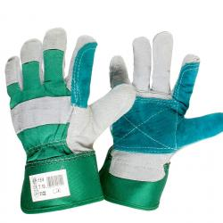 Pair leather hard-coated working gloves, double cotton, Size 10/L.