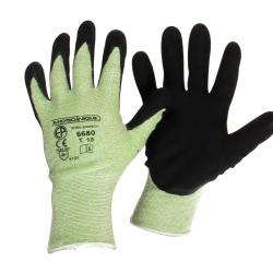 Pair coated working gloves, made from BAMBOO fabric (hypoallergenic), NYLON and SPANDEX. Size 10/L.