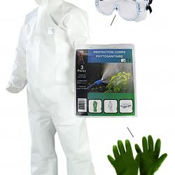 Set disposable overall, protective glasses and gloves.