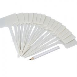 16 White Plastic Plant T Label Tags