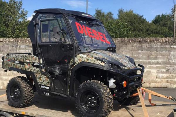 Customer demonstration of a Diesel Tracker Quadzilla ATV