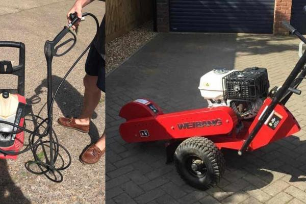 Pressure washer and stump grinder out on weekend hire to customers in Aylesbury, Buckinghamshire