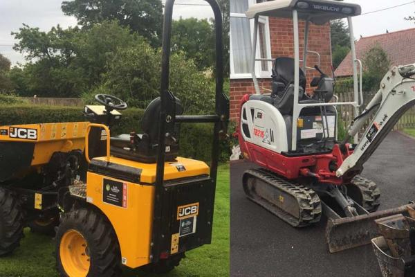 JCB Skiploader and digger hired for project in Long Crendon, Oxfordshire