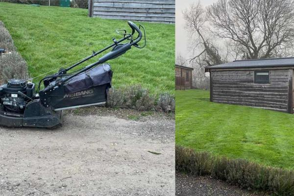 Petrol lawnmower hire for spring mowing at holiday park in Oxfordshire