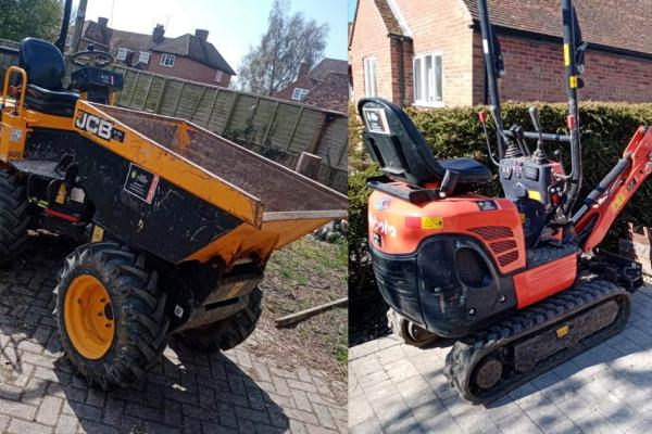 Mini digger and dumper hire for landscaping project near Milton Keynes, Buckinghamshire
