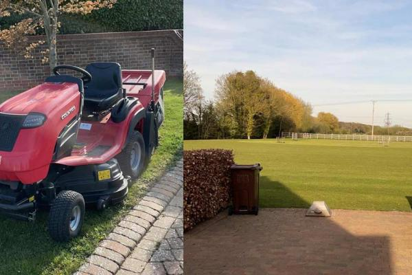 Ride-on lawn tractor hired out to customer in Princes Risborough, Buckinghamshire